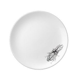 Surrealist Stag Beetle Sketch Porcelain Plates