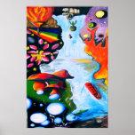 Surrealistic Dali Style Mushroom Wonderland Print