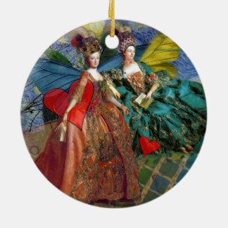 Surrealistic Gemini Butterfly Women Beautiful Ceramic Ornament
