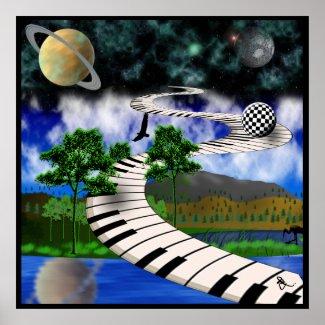 Surrealistic Keyboard Poster