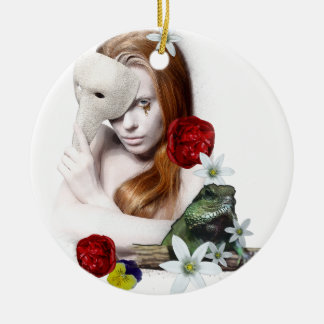 Surrealistic portrait. ceramic ornament