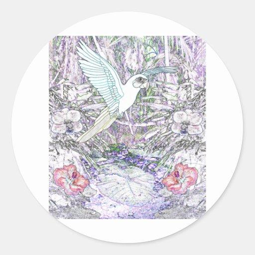 Surrealistic Rainforest Classic Round Sticker