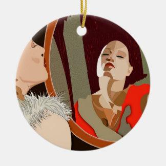 Surrealistic woman ceramic ornament