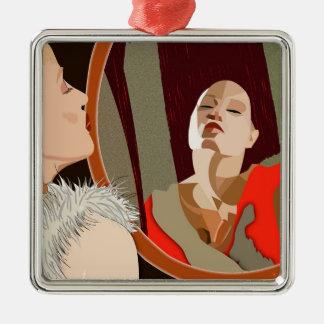 Surrealistic woman metal ornament