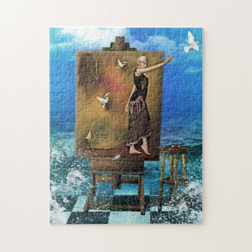 Surrealistic Woman on Artist Easel Jigsaw Puzzles