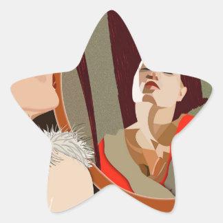 Surrealistic woman star sticker