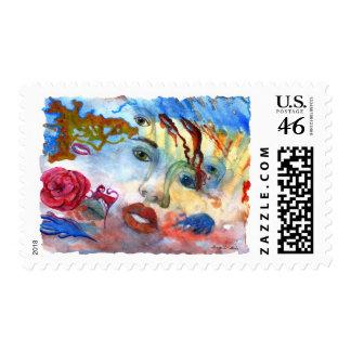 Surrelistic Portrait Woman's Face Postage Stamps