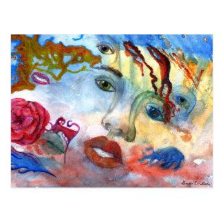 Surrelistic Portrait Woman's Face Postcard