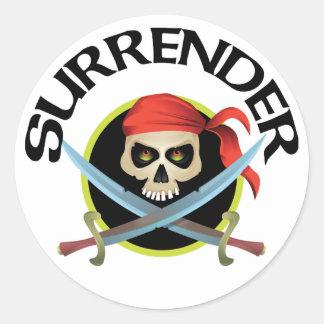 Surrender 3D Skull Classic Round Sticker