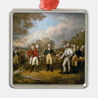 Surrender of General Burgoyne - 1822 Square Metal Christmas Ornament