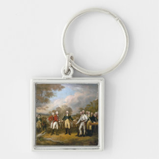 Surrender of General Burgoyne - 1822 Silver-Colored Square Keychain