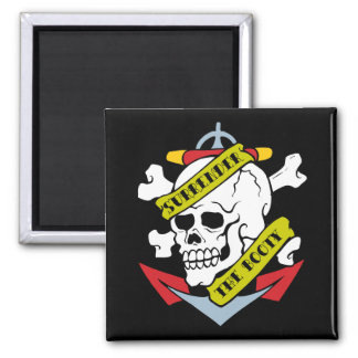 Surrender the Booty Skull 2 Inch Square Magnet