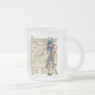 Surrender Yer Booty Pirate Treasure Map Frosted Glass Coffee Mug