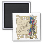 Surrender Yer Booty Pirate Treasure Map 2 Inch Square Magnet