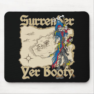 Surrender Yer Booty Pirate Treasure Map Mouse Pad