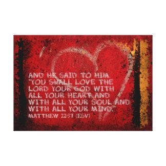 Surrendering All Matthew 22:37 Scripture Photo Art Canvas Print
