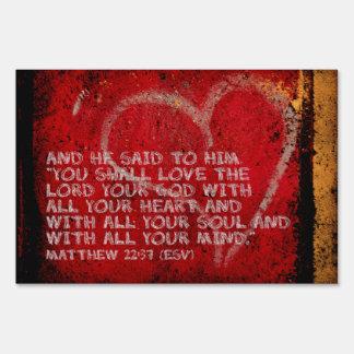 Surrendering All Matthew 22:37 Scripture Photo Art Yard Sign
