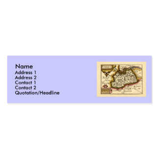 Surrey County Map, England Double-Sided Mini Business Cards (Pack Of 20)