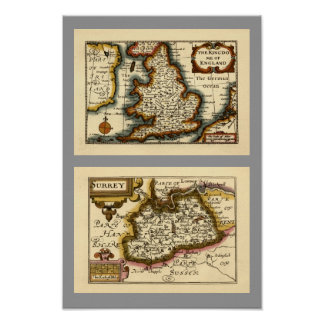 Surrey County Map, England Poster