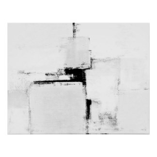 'Surround' Black and White Abstract Art Poster