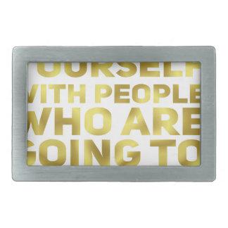 Surround Yourself Quote Dark Gold Belt Buckle