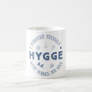 Surround Yourself w. Hygge (Dark Blue text) Coffee Mug