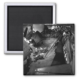 Surrounded by F6F's, ordnancemen work on_War Image 2 Inch Square Magnet