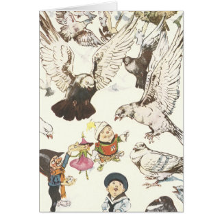 Surrounded by Pigeons Greeting Card