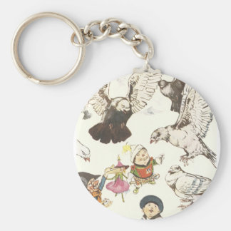 Surrounded by Pigeons Keychain