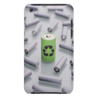 Surrounded by smaller grey batteries. iPod touch cover