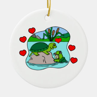 Surrounded By Turtle Love Ceramic Ornament
