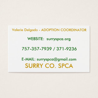 SURRY CO. SPCA, Valerie Delgado - ADOPTION COOR... Business Card