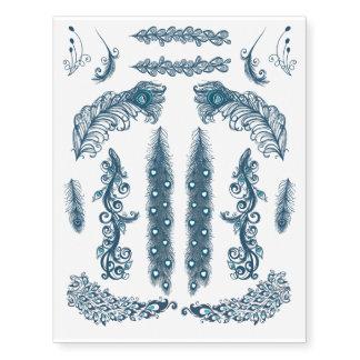Surtido azul de la pluma del pavo real tatuajes temporales