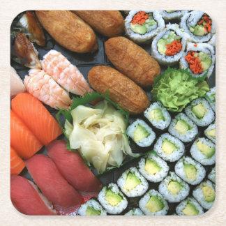 Surtido de favoritos japoneses del sushi posavasos personalizable cuadrado