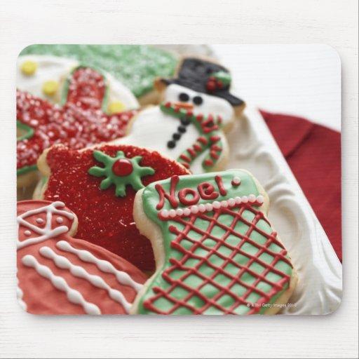 surtido de galletas festivas del día de fiesta tapetes de raton