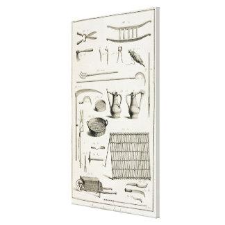 Surtido de herramientas que cultivan un huerto, de impresiones en lienzo estiradas