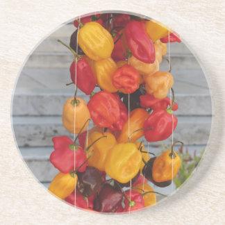 Surtido de pimientas de chiles coloridas posavaso para bebida