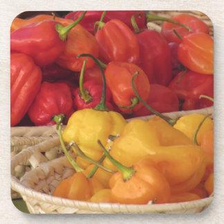 Surtido de pimientas de chiles coloridas posavasos de bebida