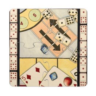 Surtido embarullado de juegos de azar posavasos de puzzle