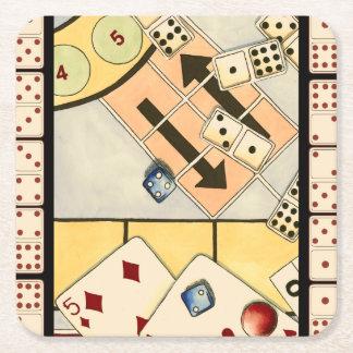 Surtido embarullado de juegos de azar posavasos personalizable cuadrado