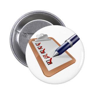 Survey clipboard and pen button