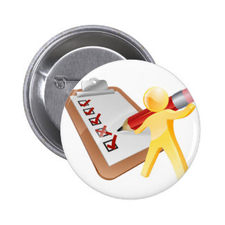 Survey clipboard man pinback button