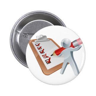Survey silver person pinback button