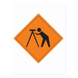 Surveyor at Work Sign Postcard