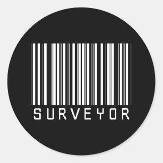 Surveyor Bar Code Classic Round Sticker
