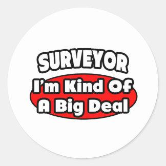 Surveyor Big Deal Round Sticker