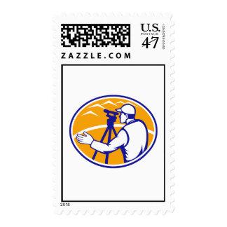 Surveyor Engineer Theodolite Total Station Postage Stamp