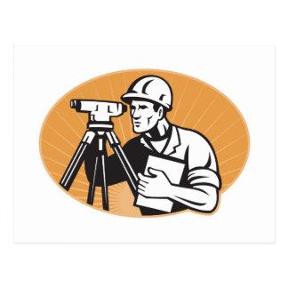 Surveyor Engineer Theodolite Total Station Postcard