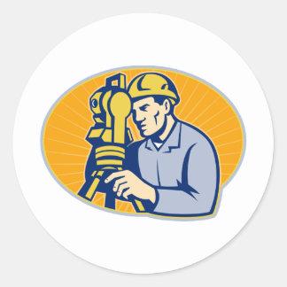 Surveyor Engineer Theodolite Total Station Retro Round Sticker