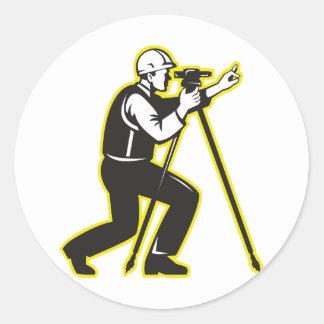 Surveyor Engineer Theodolite Total Station Round Sticker
